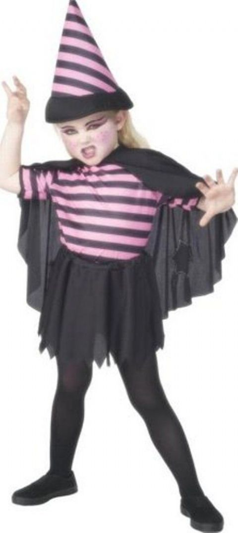 Girls Pink Striped Witch Fancy Dress Costume (Age 1 - 2)